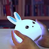 Детский силиконовый ночник игрушка Кролик с голубыми ушками 16 цветов Пульт ДУ, фото 2