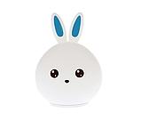 Детский силиконовый ночник игрушка Кролик с голубыми ушками 16 цветов Пульт ДУ, фото 5