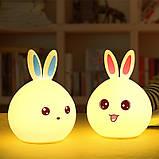 Детский силиконовый ночник игрушка Кролик с голубыми ушками 16 цветов Пульт ДУ, фото 6