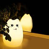 Детский силиконовый ночник игрушка «Котик с язычком» с пультом 3DTOYSLAMP, фото 4