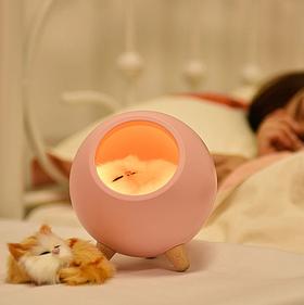 Ночник 3DTOYSLAMP Спящий котик Розовый