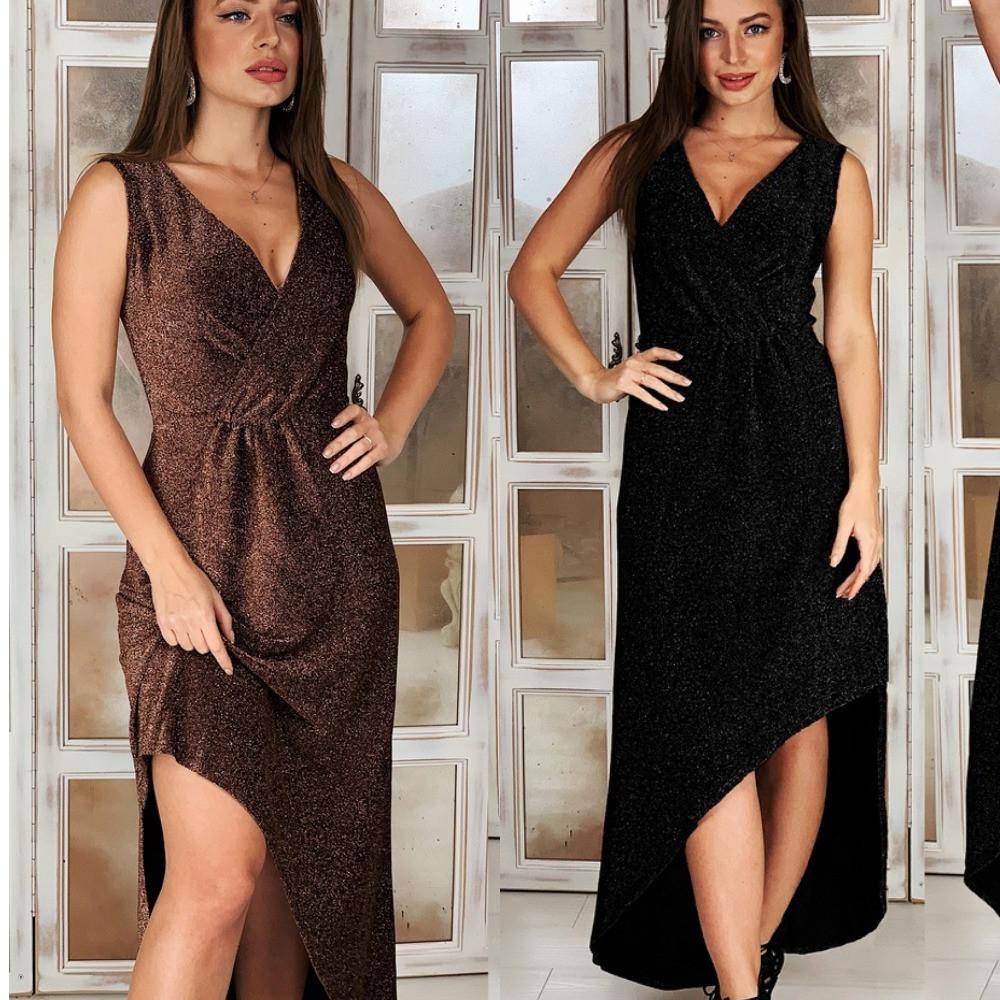 Платье женское нарядное, длинное вечернее, люрекс, ассиметричное, стильное, верх на запах, с разрезом, до 48 р