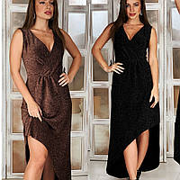 Платье женское нарядное, длинное вечернее, люрекс, ассиметричное, стильное, верх на запах, с разрезом, до 48 р, фото 1