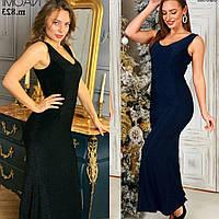 Платье женское, майка,  нарядное, люрекс, в пол, облегающее, футлярное, стильное, с декольте, вечернее, до 48