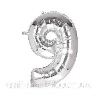 Шарик Цифра серебро (100см)