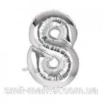 Шарик Цифра серебро (100см), фото 2
