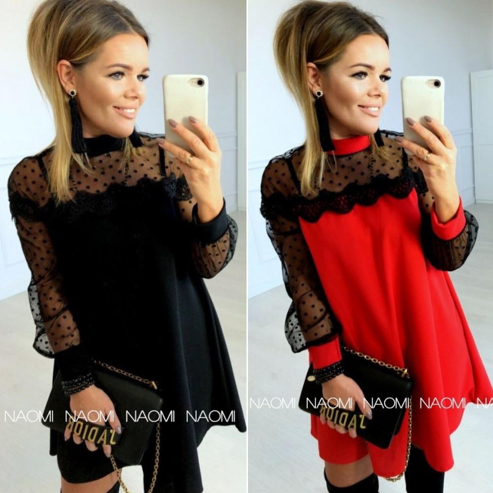 Платье женское трикотажное, повседневное, нарядное, короткое, трапеция, свободное, с сеткой флок, модное