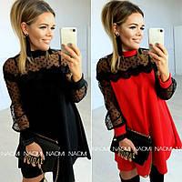 Платье женское трикотажное, повседневное, нарядное, короткое, трапеция, свободное, с сеткой флок, модное, фото 1