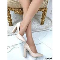 Женские туфли лодочки кожаные бежевые, эко-кожа, устойчивый высокий каблук