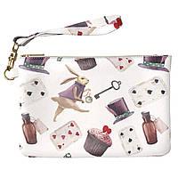 Женская косметичка, дорожная сумочка (Алиса в стране чудес) ручной роботы из эко-кожи