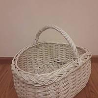 """Плетеная пасхальная корзина из белой лозы """"Плоска косичка"""", фото 1"""