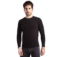 Термобелье мужское футболка с длинным рукавом (лонгслив) JASON (PL, хлопок, флис двухсторонний, M-3XL, черный) PZ-1925