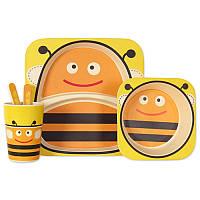 "Посуда детская бамбуковая ""Пчелка"" 5пр/наб (2тарелки, вилка, ложка, стакан) MH-2770-3"