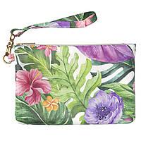Женская косметичка, дорожная сумочка (Экзотические цветы) ручной роботы из эко-кожи