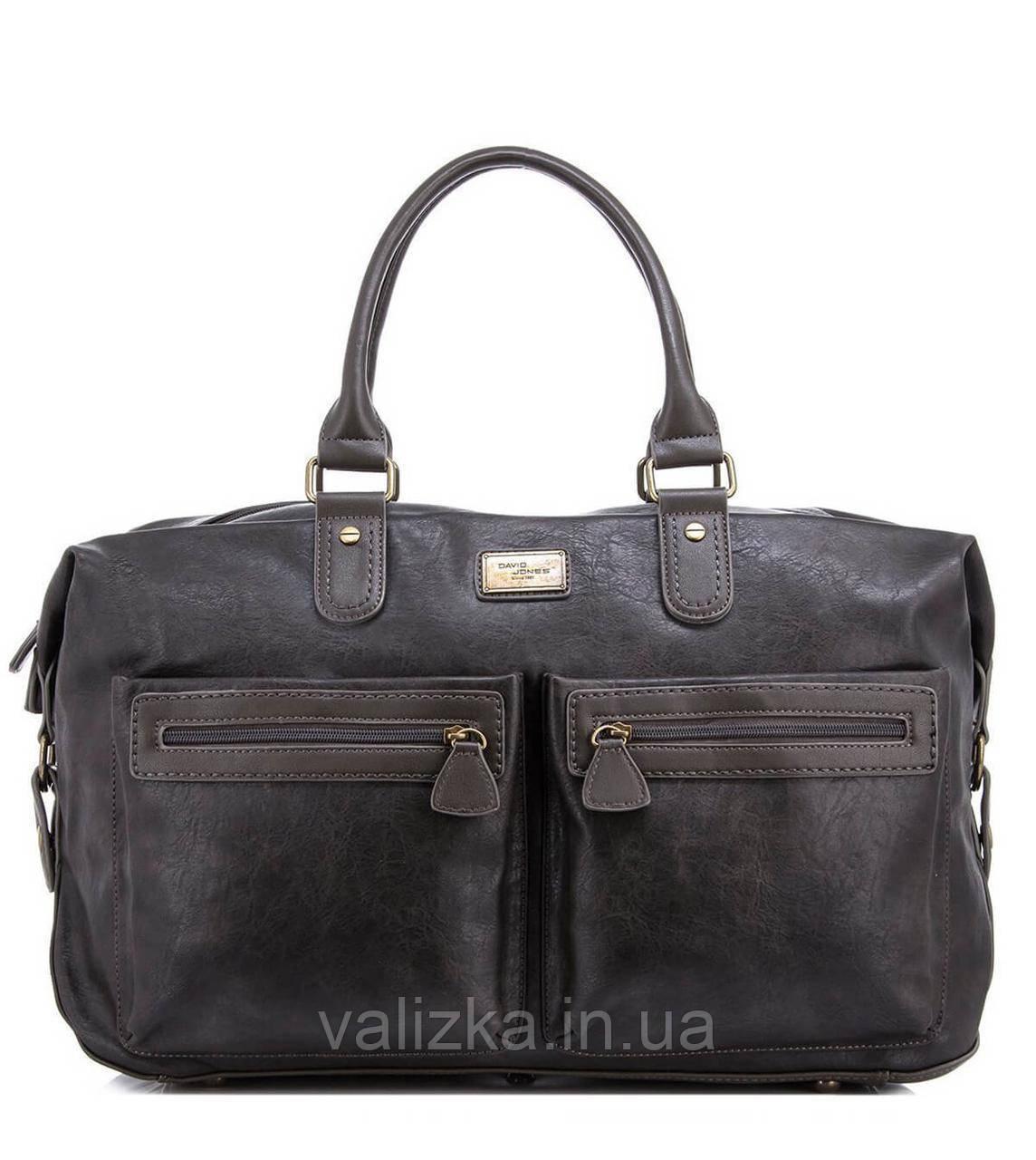 Дорожная сумка из экокожи David Jones  CM3553 серая для ручной клади