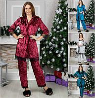 Женская велюровая пижама тройка 2162