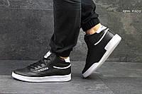 Мужские высокие кроссовки Reebok кожаные,черно-белые 45р