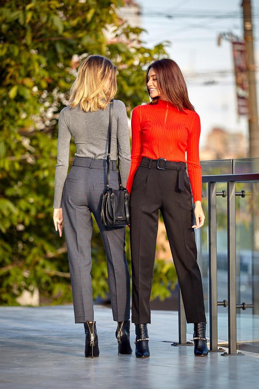 Укороченые брюки черного цвета (Код BR-429)
