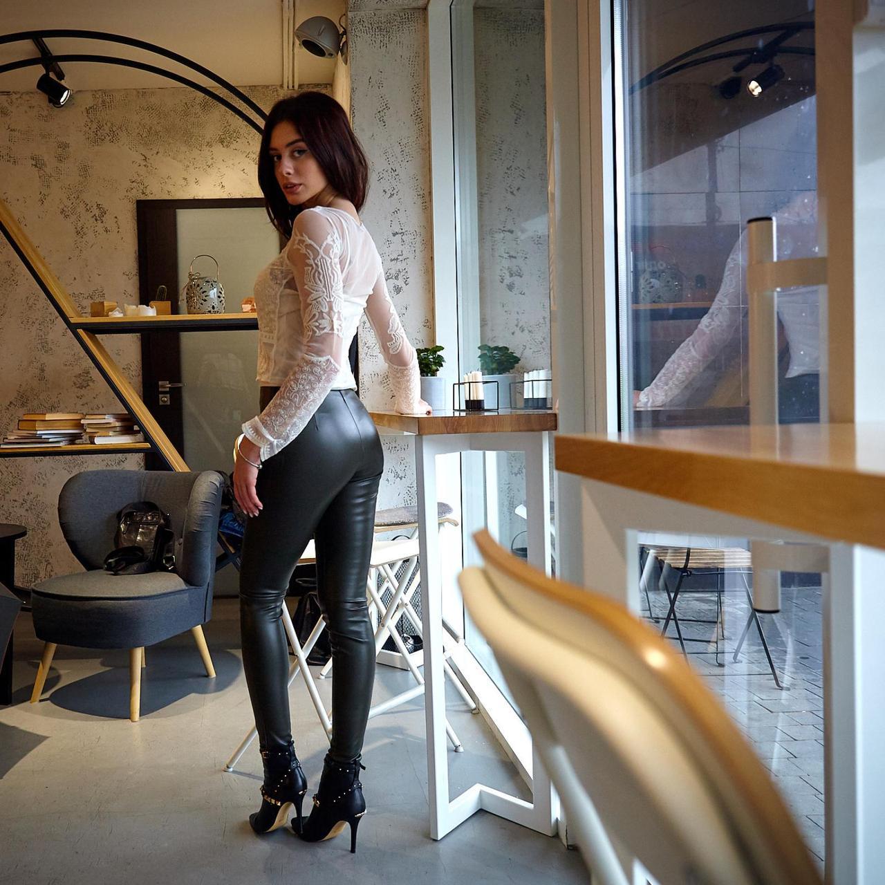 Стильні брюки-легінси із кожзаму (Код BR-403)