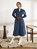 Однотонное вельветовое платье-миди с воротником стойкой, фото 2
