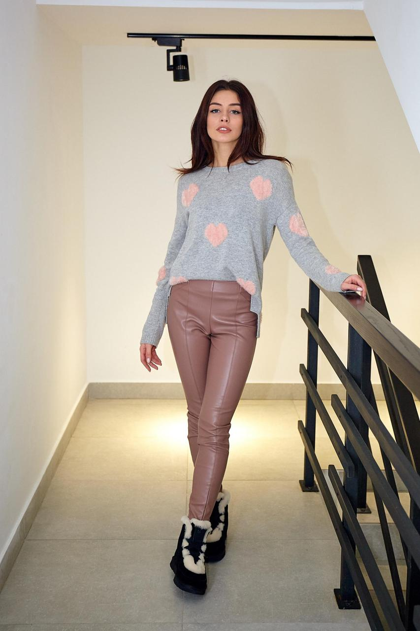 Стильні брюки-легінси кольору пудра (Код BR-445)