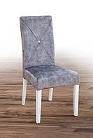Стілець м'який з дерев'яними ніжками в білому кольорі Дімас колекція Престиж
