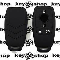 Чехол (черный, силиконовый) для смарт ключа Мерседес (Mercedes) 4 кнопки