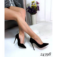 Женские замшевые черные туфли лодочки на шпилькеэко-замш