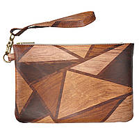 Женская косметичка, дорожная сумочка (Деревянные треугольники) ручной роботы из эко-кожи