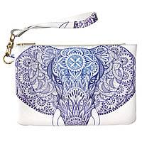 Женская косметичка, дорожная сумочка (Индийский слон) ручной роботы из эко-кожи