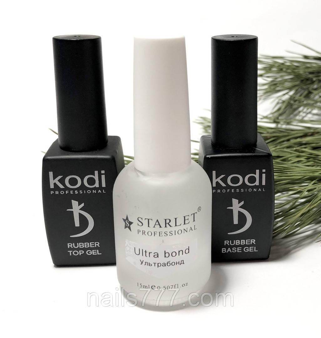 База Kodi 8 мл +Топ Kodi 8 мл + Ультрабонд Starlet кислотный 15 мл, набор