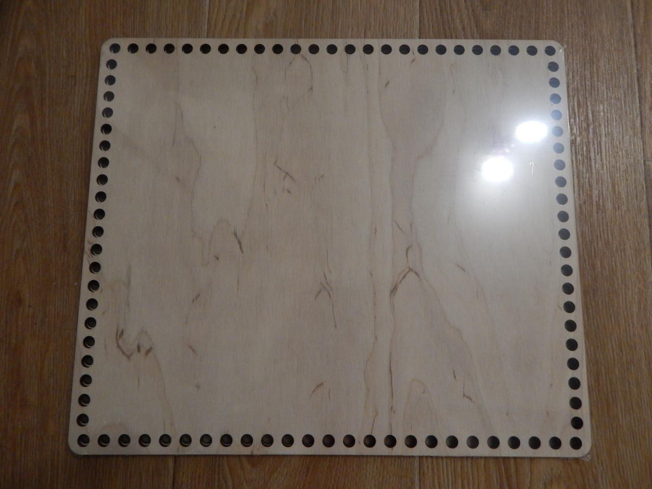 Деревянное прямоугольное донышко для вязаных корзин, 35*30см