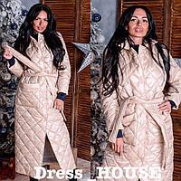 Стильное женское пальто, стеганое, бежевое, 913-026-41