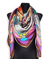 Шелковый платок Сицилия, 135х135 см, серый/фиолетовый
