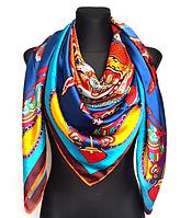 Шелковый платок Fashion Сицилия 135х135 см синий