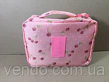 Дорожный органайзер для косметики Fozo Travel / розовый с вишенками