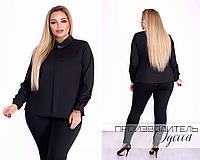 Классическая женская блузка с длинным рукавом и украшением колье бижутерией чёрная 50 52 54 56, фото 1