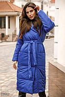 Теплое стеганое пальто на синтепоне синее