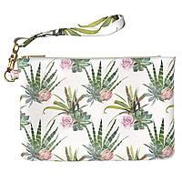 Женская косметичка, дорожная сумочка (Экзотические растения, паттерн) ручной роботы из эко-кожи