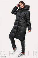 Стеганое женское пальто на синтепоне черное