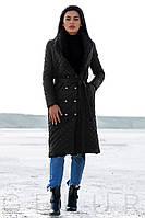 Стеганое двубортное пальто