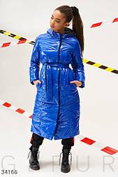 Двусторонняя зимняя куртка-пальто на синтепоне сине-черная