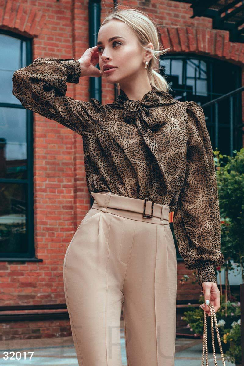 Легкая блуза с завязками в леопардовый принт коричнево-черная