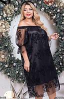 Платье женское вечернее свободное больших батальных размеров 48-52,54-58,60-64,цвет черный