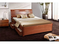 Кровать Мария Люкс 180 х 200 см + 4 ящика (орех светлый)