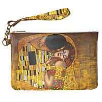 Женская косметичка, дорожная сумочка (Поцелуй, Густав Климт) ручной роботы из эко-кожи
