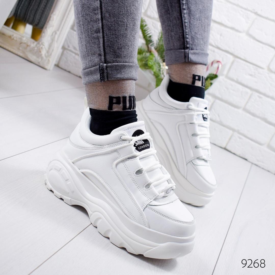 Женские белые кроссовки на платформе , хит продаж, ОВ 9268