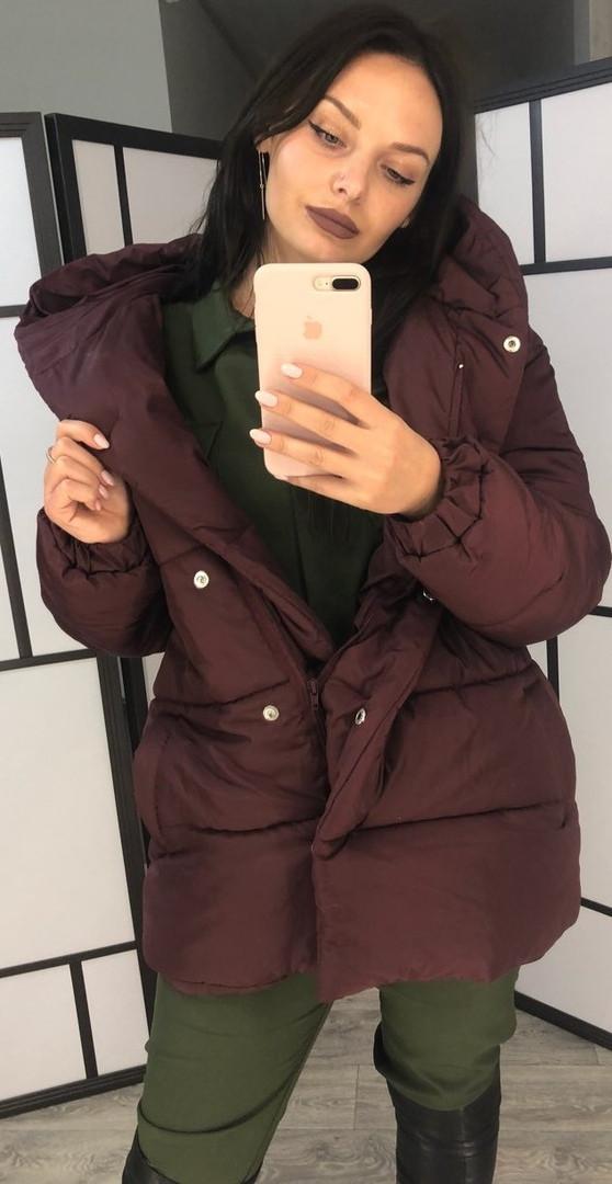 Куртка женская из плащевки на силиконе с капюшоном (К29523)