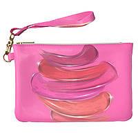 Женская косметичка, дорожная сумочка (Розовая краска, гуашь) ручной роботы из эко-кожи
