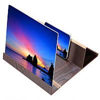 3D подставка увеличительный экран лупа для телефона Video Amplifier Dark Wooden